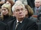 Prezident Miloš Zeman při posledním rozloučení s politikem a prognostikem