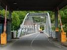 Rakousko - slovinský hraniční přechod Trate s mostem přes řeku Mura.