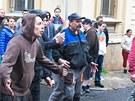 Policisté zasáhli v Duchcově proti účastníkům demonstrace (29. května 2013).