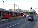Kvůli nehodě tramvají byl na Červeném vrchu zastaven provoz v obou směrech