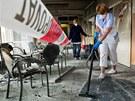 Prostor pro návštěvy v hradecké fakultní nemocnici po požáru. (22. 5. 2013)