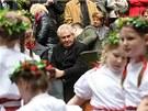 Prezident Milo� Zeman se z��astnil otev�r�n� stud�nek Barborky a Vitulky u T��