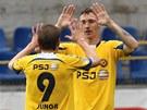 PARÁDA. Jihlavští Arnold Šimonek a Marek Jungr se těší z gólu.