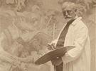 Alfons Mucha p�i malov�n� Bitvy u Grunwaldu, kolem 1924, nezn�m� autor....