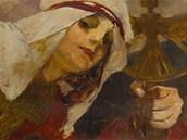 Alfons Mucha, Zima (ze s�rie �ty�i ro�n� obdob�). Olejomalba z let 1902-3 je