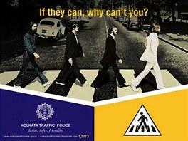 Plakát dopravní policie v indické Kalkatě.