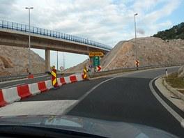 Konec dálnice A1 u Vrgorace na jihu Chorvatska