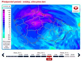 Mapa ukazuje, kolik a kde naprší v České republice. Na rozdíl od radaru ukazuje