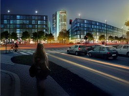 Vizualizace budouc� podoby nov� v�kov� budovy, kter� m� vyr�st v are�lu nov�