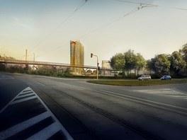 Vizualizace budoucí podoby nové výškové budovy, která má vyrůst v areálu nově