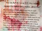 Dopis na rozlou�enou, kter� p�ed domem zavra�d�n� rodiny v Ivanovic�ch zanechal