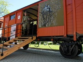 Unikátní replika legionářského vlaku na brněnském výstavišti během veletrhu IDET