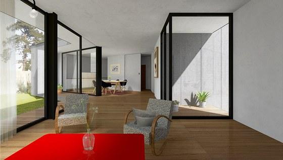 Celý prostor obývací kuchyně s jídelnou je otevřený do zahrady díky velkému