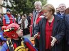 Německá kancléřka Angela Merkelová v zatopeném Pasově (4. června 2013)