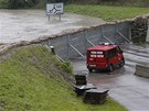 Povodňové zábrany nedaleko rakouské Kremže (4. června 2013)