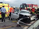 Vážná nehoda na silnici mezi Písnicí a Dolními Břežany (6. června 2013).