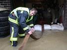 Říčka Trnava vyplavila v Hořepníku na Pelhřimovsku zahrady a asi desítku domů