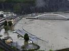 Rozvodněné Labe v Ústí nad Labem (4. června 2013)