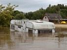 Kozárovice. 4. 6. 2013. Povodně 2013, velká voda, Vltava, povodeň Kozárovice