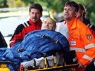 Evakuace pacientů z Nemocnice Na Františku.