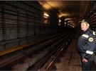 Tunel metra u stanice Nádraží Holešovice.