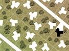 Koncepce domu s třemi rameny v navržené širší situaci ukazuje možnosti zástavby...