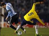 Kolumbijskou obranu nedokázal překonat ani Lionel Messi. Na snímku hvězdného