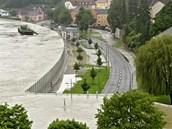 Protipovodňová zábrana rakouského městečka Grein, které leží u Dunaje.