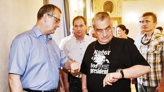 Miroslav Kalousek, Petr Gazd�k a Karel Schwarzenberg p�i jedn�n� TOP 09 k