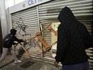 Vandalismus při nepokojích v Brazílii. (19.6. 2013)
