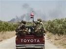 Asadovi vojáci jižně od města Aleppo (17. června 2013)