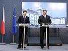 Premiér Petr Nečas a ministr spravedlnosti Jiří Pospíšil na tiskové konferenci...
