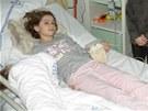 Kateřina na počátku své hospitalizace ve Fakultní nemocnii Motol.