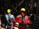 Hasiči zachraňovali u Ptení na Prostějovsku paraglidistu, který zůstal viset za