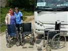 Zdravotní sestra Miroslava Vávrová z náchodské chirurgie předává tři vozíky