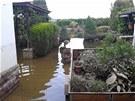 Zahrádka po povodních. Voda dosahovala do výšky jednoho a půl metru.