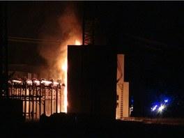 Požár pražské rozvodny Chodov.