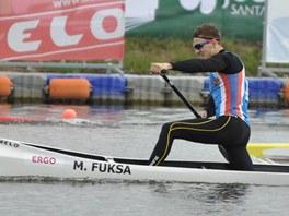Český singlkanoista Martin Fuksa na trati závodu na 500 metrů na mistrovství
