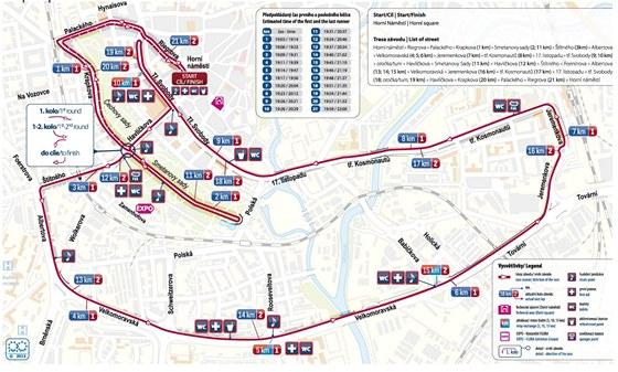 Mapa s trasou olomouckého půlmaratonu pro rok 2013.