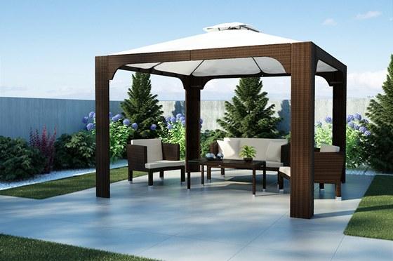 Baldachýn z materiálu polyratan lze sjednotit tvarem i barvou s nábytkem.