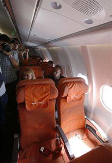 Prázdná sedala v letadle Aeroflotu, která měl rezervovaná bývalý technik