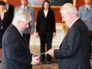 Prezident Milo� Zeman jmenoval nov�m premi�rem Ji��ho Rusnoka. (25. �ervna 2013)