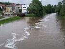 Rozvodněná Sázava v centru Havlíčkova Brodu.