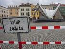 Z��cen� podium na Velk�m n�m�st� v Krom���i.