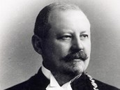 Karel Groš, primátor Prahy v letech 1906-1918. Na medailonu je patrná podobizna