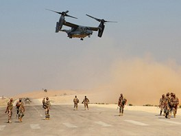 V�sadkov� letoun V-22 Osprey b�hem cvi�en� Eager Lion v Jord�nsku