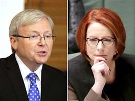 Bývalý premiér Austrálie Kevin Rudd a jeho nástupkyně Julia Gillardová