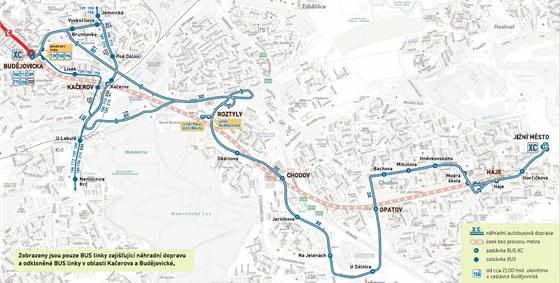 Mapka n�hradn� autobusov� dopravy za v�luku metra mezi stanicemi Bud�jovick� a