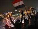 Mursího odpůrci se radují na Tahrírském náměstí (3. července 2013)