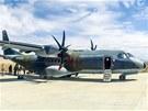 Armádní letoun CASA krátce po přistání v Bulgan Sumu.